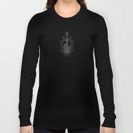 Intricate Gray and Black Bass Guitar Design Long Sleeve T-shirt