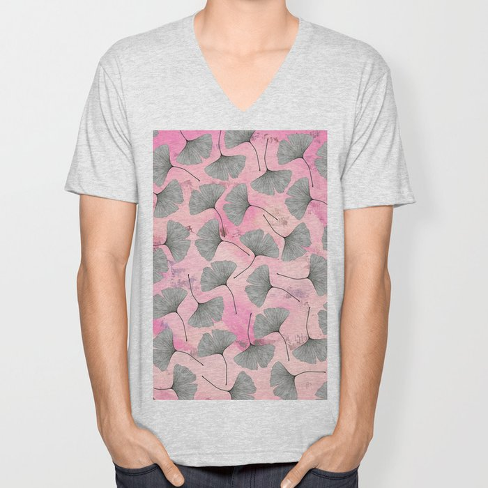 botanical biloba drawing pattern on pink watercolor marble Unisex V-Neck