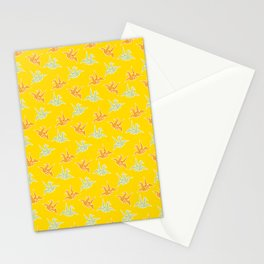 Yellow Origami Crane Japanese Kimono Pattern Stationery Cards