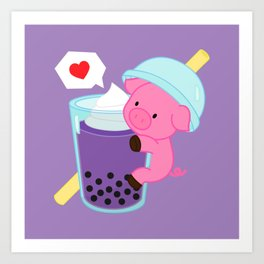 Pig with Purple Bubble Tea Art Print