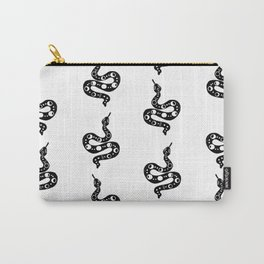 Snakes linocut printmaking black and white minimal nature animal pattern dorm college decor Carry-All Pouch