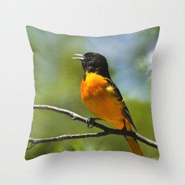 Orange Oriole Throw Pillow