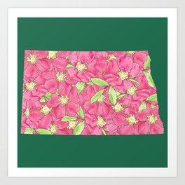North Dakota in Flowers Art Print