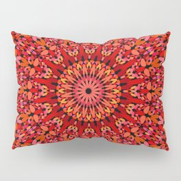 Red Geometric Bloom Mandala Pillow Sham