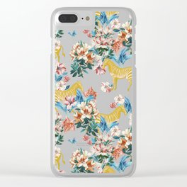 Floral & Zebras Clear iPhone Case