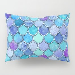 Colorful Blues Mermaid Scales Pillow Sham