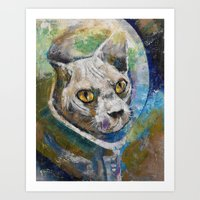 space cat Art Prints featuring Space Cat by Michael Creese