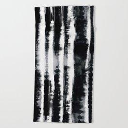 Tie-Dye Shibori Stripe BW Beach Towel