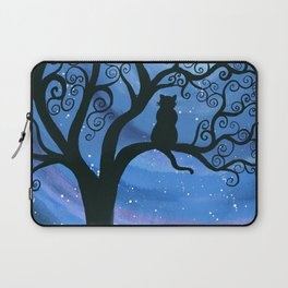 Meowing at the moon - moonlight cat painting Laptop Sleeve