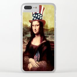Patriotic Mona Lisa Clear iPhone Case