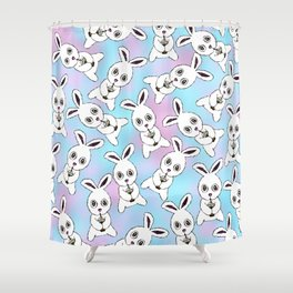 Cute Bunny with Coffee Frappe on Pink Blue Haze Shower Curtain