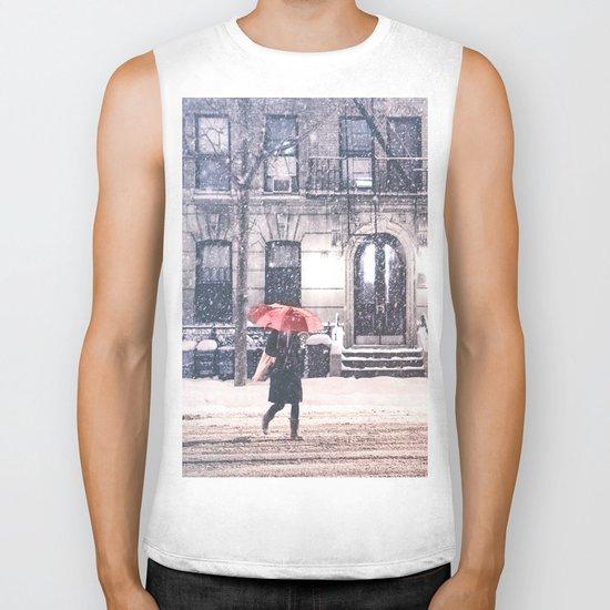 New York City Snow and Red Umbrella Biker Tank