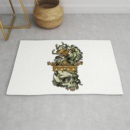 Deathly Lion -  Lion on Dead Skull Rug