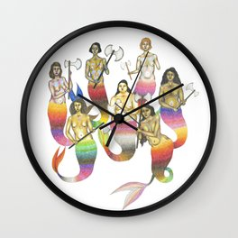mermaids with axes Wall Clock