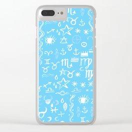 Celestial Symbols Blue Sky Clear iPhone Case