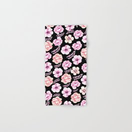 Watercolor coral pink black tropical floral Hand & Bath Towel