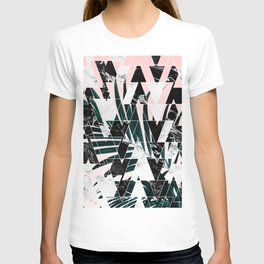 Modern geometric triangles black white abstract marble pattern palm tree leaf pink ombre T-shirt
