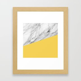 Marble and Primrose Yellow Color Framed Art Print