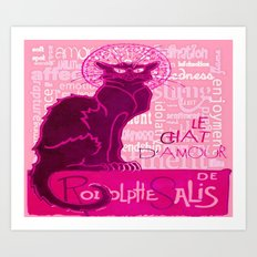 Le Chat D'Amour In Pink With Words of Love Art Print