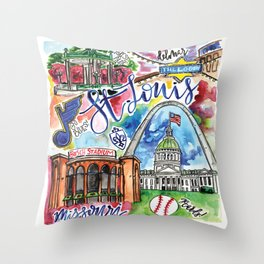 St. Louis Skyline Watercolor Throw Pillow