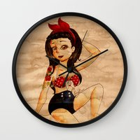 pin up Wall Clocks featuring Pin Up by Lilolilosa