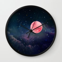 Pink Moon Wall Clock