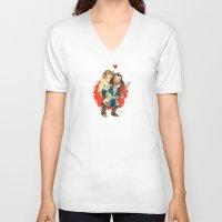 the hobbit V-neck T-shirts featuring Hobbit Hug by Super Group Hugs