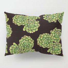 Green Succulents on Black Pillow Sham
