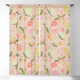 Peony Buds Abound Pattern on Rose Background  Blackout Curtain