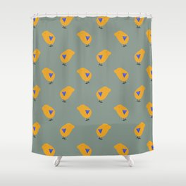 Sunny Family boy hand drawn home decor and textile design kids pattern on olive Shower Curtain