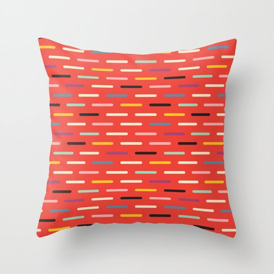 Modern Red Accent Pillows : Modern Scandinavian Dash Red Throw Pillow by Season Of Victory Society6
