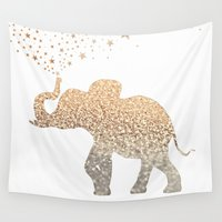 ornate elephant Wall Tapestries featuring ELEPHANT by Monika Strigel