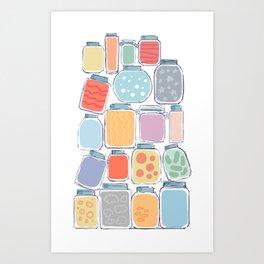 colorful magical jars Art Print