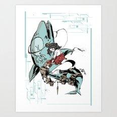 Aqua Nunchucks Art Print
