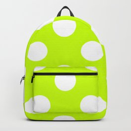 Large Polka Dots - White on Fluorescent Yellow Backpack
