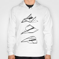 planes Hoodies featuring Paper Planes by Katy Shorttle