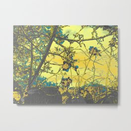 Blossoms Abstract Yellow Metal Print