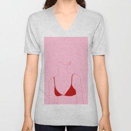 Pink and red fashion illustration - Courtney Unisex V-Neck