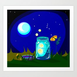 A Jar of Fireflies at Night Art Print