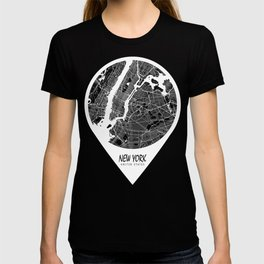 New York City Map of the United States - Circle T-shirt