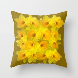 Olive Colored Golden Daffodile Floral Abundance Throw Pillow