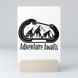 Adventure Awaits Rock Climbing Carabiner Mountains Climber Gift Mini Art Print