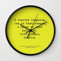 the perks of being a wallflower Wall Clocks featuring Perks of Being a Wallflower  by Mackenzie Hahn
