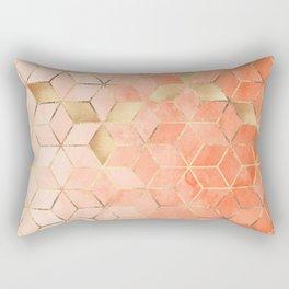 Soft Peach Gradient Cubes Rectangular Pillow