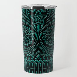 Intricate Teal Blue and Black Day of the Dead Sugar Skull Travel Mug