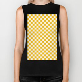 White and Amber Orange Checkerboard Biker Tank