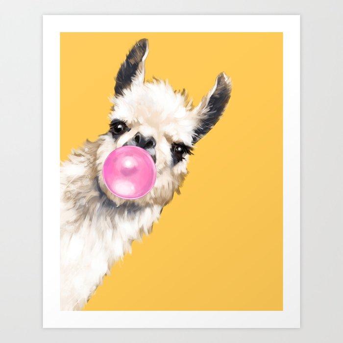 Bubble Gum Sneaky Llama in Yellow Art Print