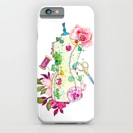 Fashion art print mannequin with flowers roses, thread spools, tailor scissors. iPhone Case