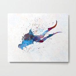 Man scuba diver 03 in watercolor Metal Print