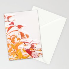Snow covered red leaves Stationery Cards